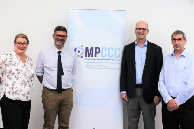 From left-right: Vikki Marshall (Project Manger - Precision Oncology Program), Prof David Thomas, Prof Mark Shackleton (Director of Oncology - The Alfred and Monash University), Dr Glenn Cartwright (Strategy Manager - Precision Oncology Program).